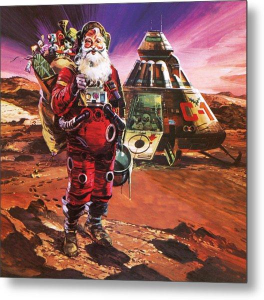Santa Claus On Mars Metal Print