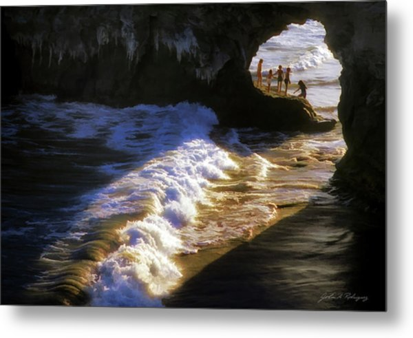 Santa Cruz 'bridge' California Coastline Metal Print