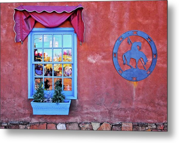 Santa Fe Street Reflection Metal Print