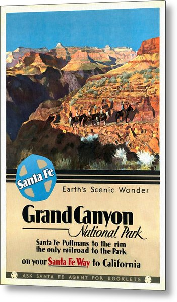 Santa Fe Train To Grand Canyon - Vintage Poster Restored Metal Print