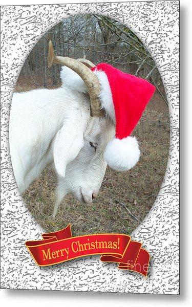Santa Goat Metal Print