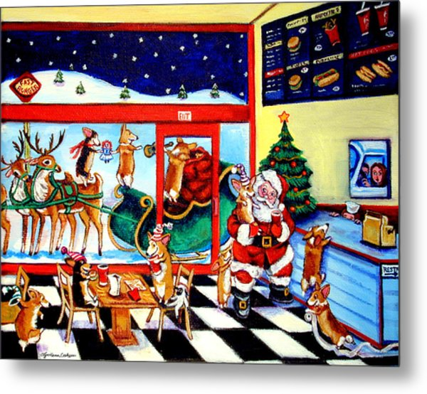 Santa Makes A Pit Stop Metal Print