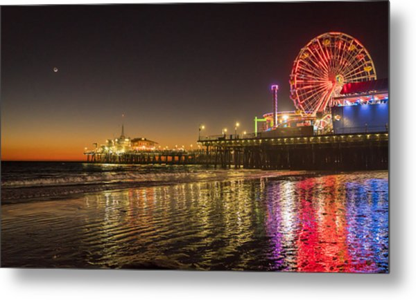 Santa Monica Pier After Sunset Metal Print