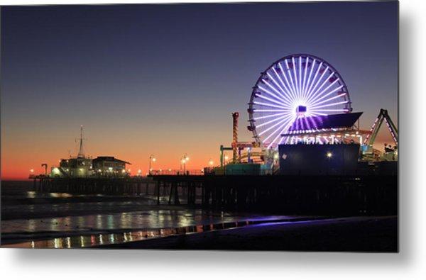 Santa Monica Pier At Sunset Metal Print by Frank Freni