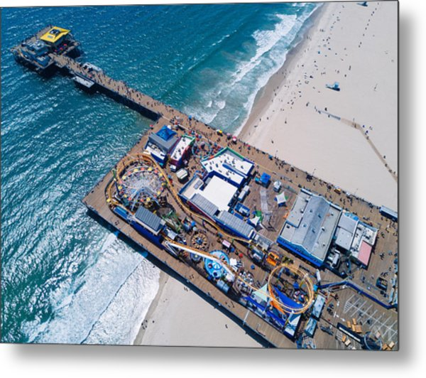 Santa Monica Pier From Above Side Metal Print
