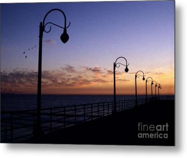 Santa Monica Pier Sunset Metal Print by Chris Jurgenson