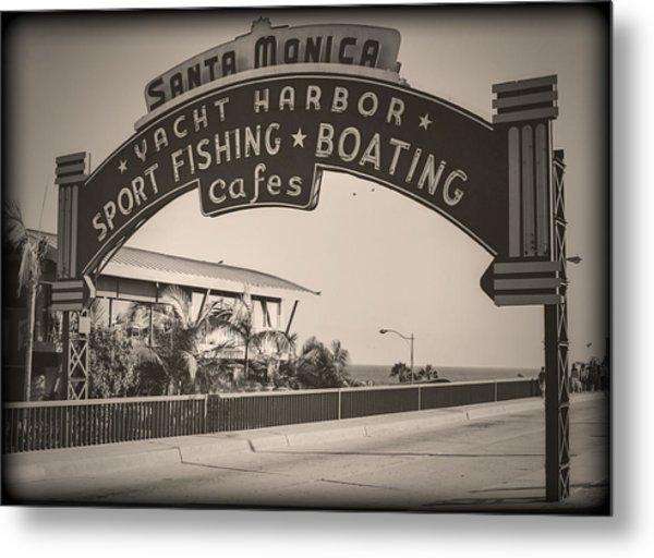 Santa Monica Sign Series Modern Vintage Metal Print