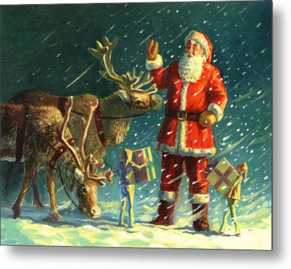 Santas And Elves Metal Print