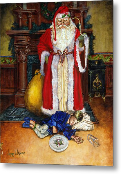 Santas Littlest Helper Metal Print