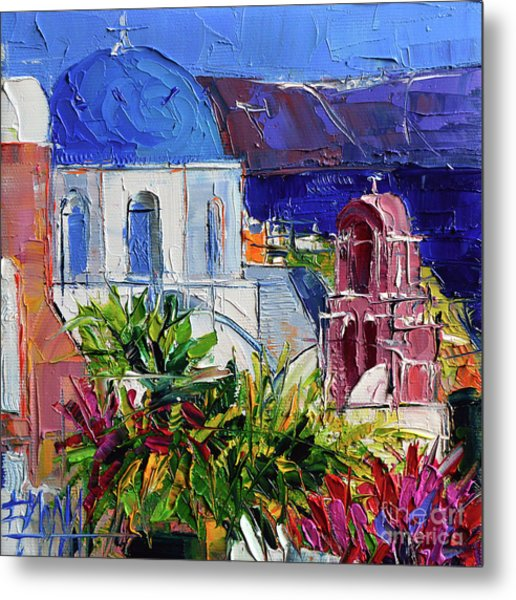 Santorini Church - Mini Cityscape 01 - Modern Impressionist Palette Knife Oil Painting Metal Print