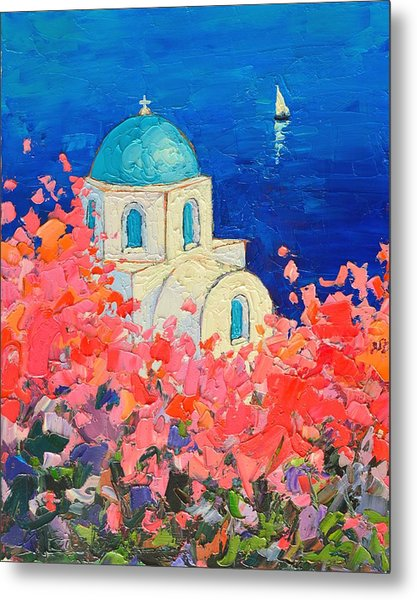Santorini Impression - Full Bloom In Santorini Greece Metal Print