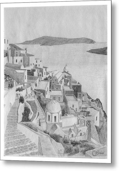Santorini Sketch Metal Print