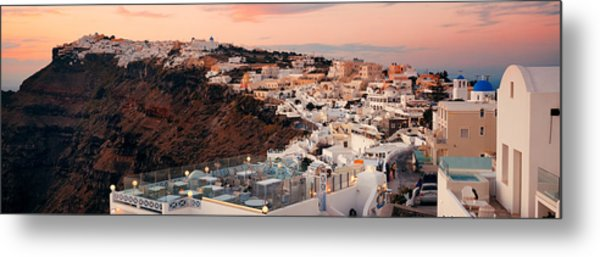 Santorini Skyline Sunset Metal Print by Songquan Deng