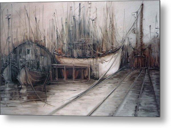 Santos Harbour Metal Print by Fatima Stamato