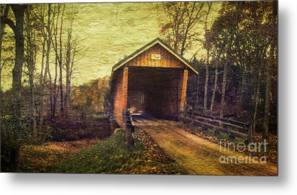 Santoy Covered Bridge #35-58-38 Morgan County Ohio Metal Print by Robert Gardner