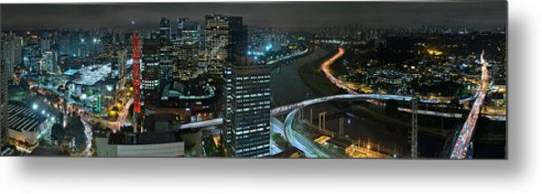 Sao Paulo Skyline Modern Corporate Districts Brooklin Morumbi Chacara Santo Antonio Metal Print