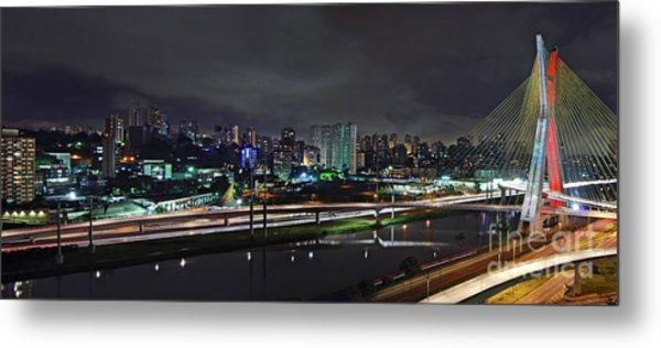 Sao Paulo Skyline - Ponte Estaiada Octavio Frias De Oliveira Wit Metal Print