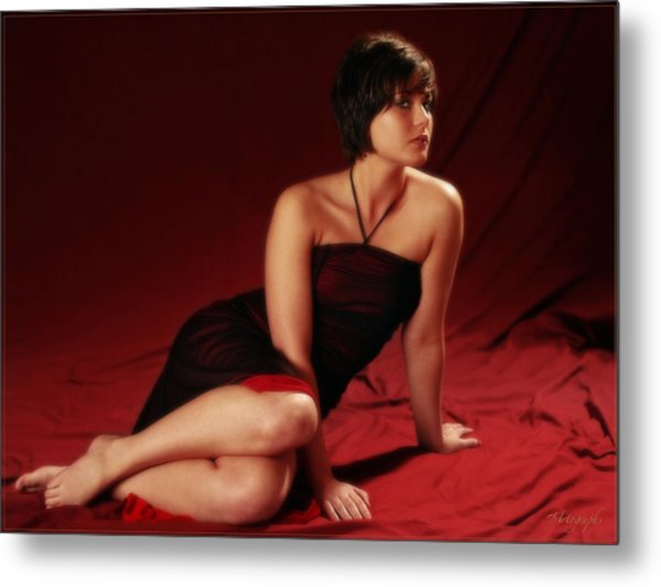 Sarah In Red Metal Print by Artographs Fine Art