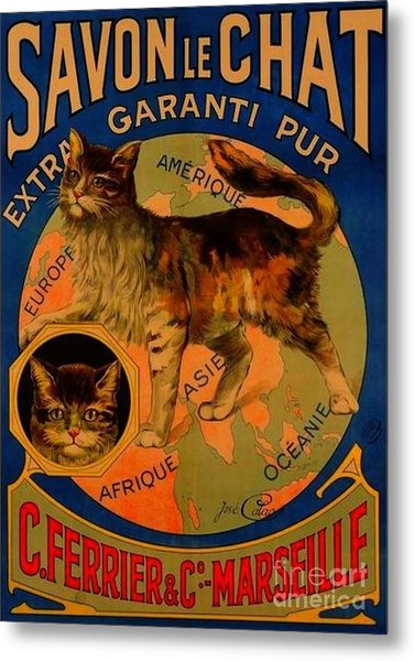Savon Le Chat Antique French Poster Metal Print
