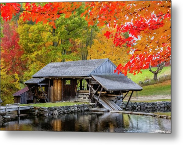 Sawmill Reflection, Autumn In New Hampshire Metal Print