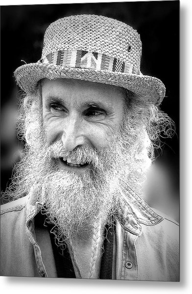 Sax Man In Black And White Metal Print by Jen White