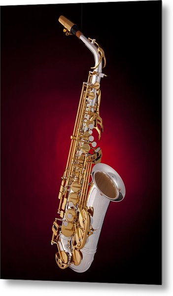Saxophone On Red Spotlight Metal Print