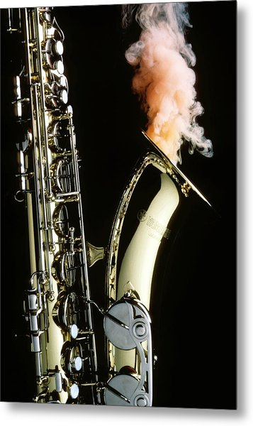Saxophone With Smoke Metal Print
