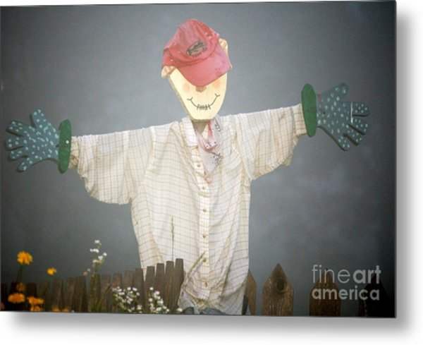 Scarecrow In Fog Metal Print by Diane E Berry