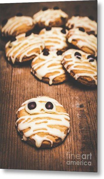 Scared Baking Mummy Biscuit Metal Print