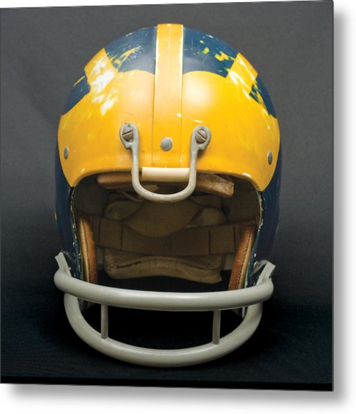 Metal Print featuring the photograph Scarred 1970s Wolverine Helmet by Michigan Helmet
