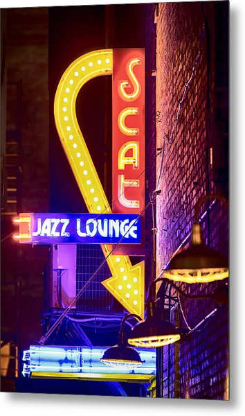 Scat Jazz Neon V3 Metal Print