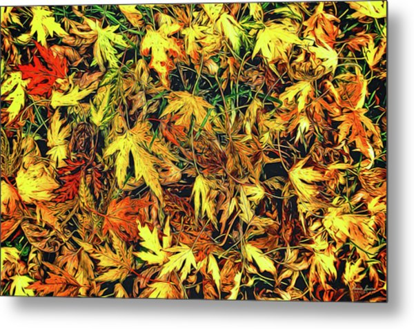 Scattered Autumn Leaves Metal Print
