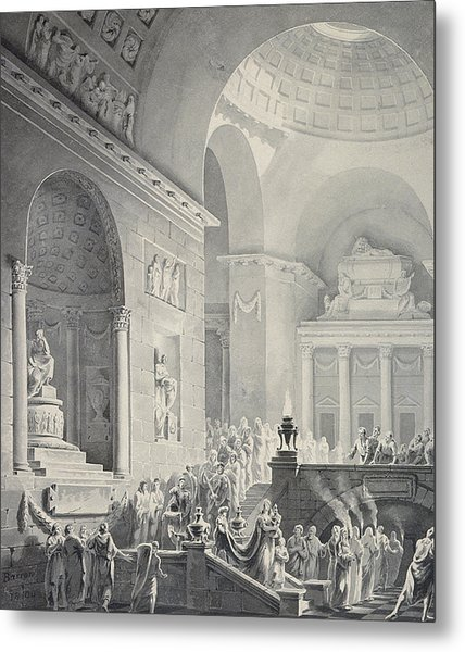 Scene In A Classical Temple  Funeral Procession Of A Warrior Metal Print
