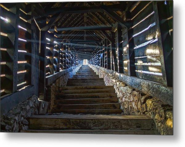 Scholar's Stairs Sighisoara Metal Print
