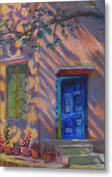 School Room Door Varanasi India Metal Print by Art Nomad Sandra  Hansen