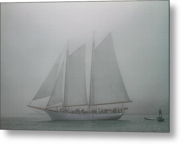 Schooner In Fog Metal Print