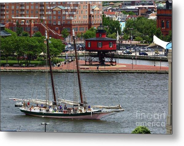 Schooner Lady Maryland Leaving Inner Harbor Baltimore Metal Print
