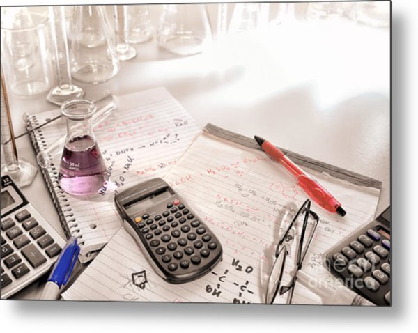 Scientific Calculator And Chemistry Formulas Notes Metal Print