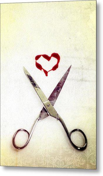 Scissors And Heart Metal Print