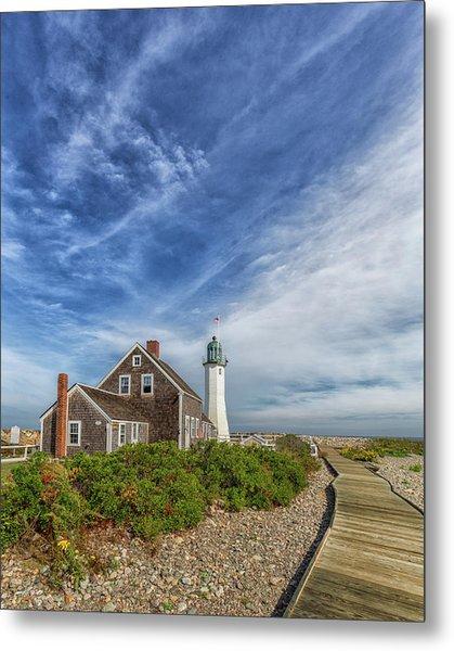 Scituate Lighthouse Boardwalk Metal Print