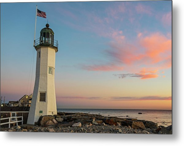 Scituate Lighthouse Scituate Massachusetts South Shore At Sunrise Metal Print