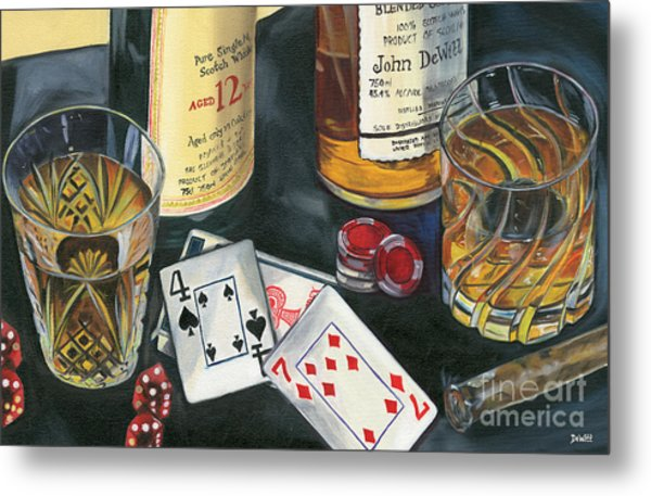 Scotch Cigars And Cards Metal Print