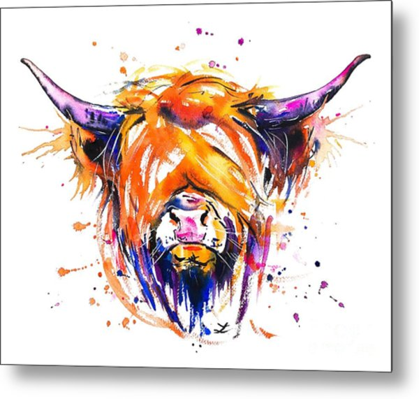 Scottish Highland Cow Metal Print