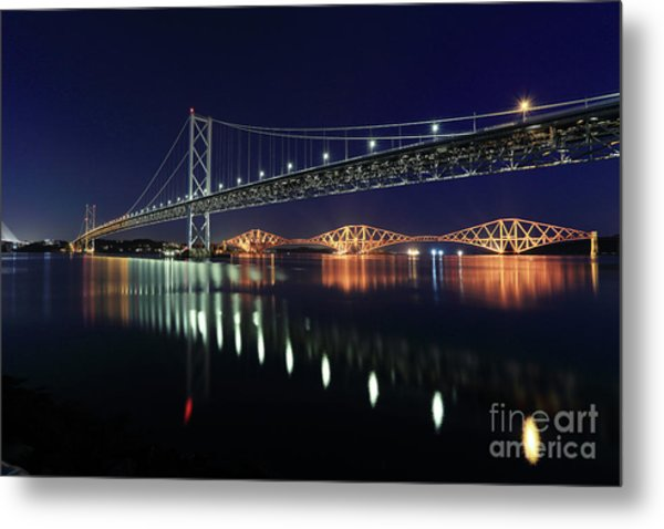 Scottish Steel In Silver And Gold Lights Across The Firth Of Forth At Night Metal Print