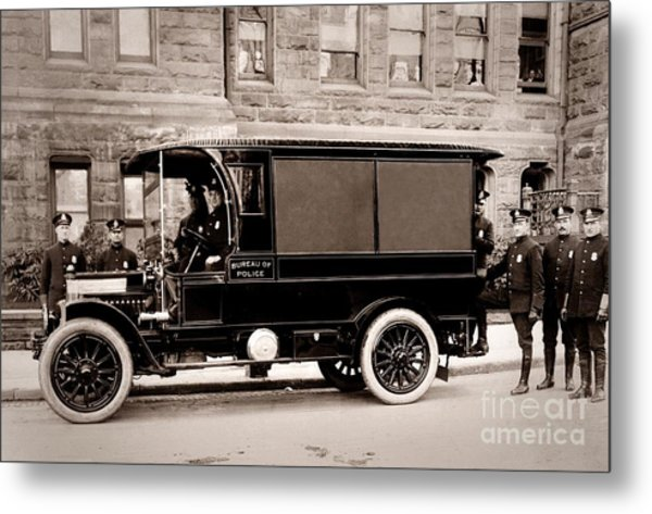 Scranton Pennsylvania  Bureau Of Police  Paddy Wagon  Early 1900s Metal Print