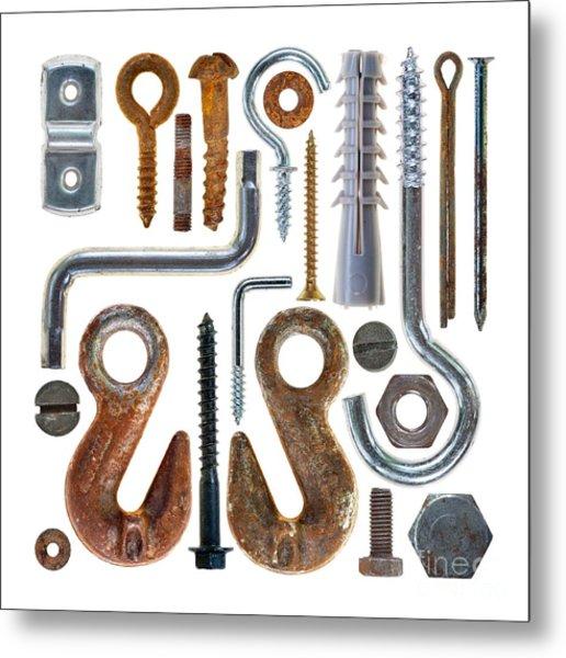 Screws, Nut Bolts, Nails And Hooks Metal Print