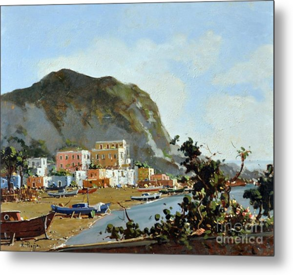 Sea And Mountain With Boats Metal Print