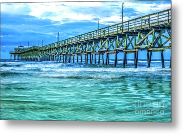 Sea Blue Cherry Grove Pier Metal Print