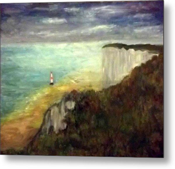Sea, Cliffs, Beach And Lighthouse Metal Print