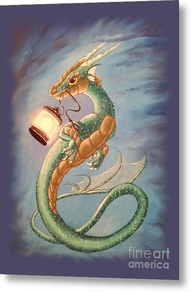 Metal Print featuring the painting Sea Dragon And Lantern by Mary Hoy